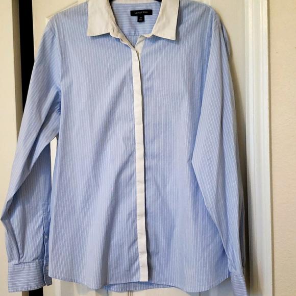 Lands End Pale blue/ White pinstripe blouse/ Sz 18